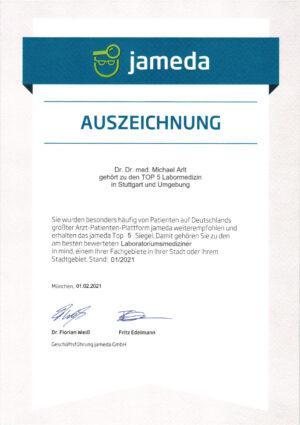 Jameda Auszeichnung Fachgebiet 1-2021